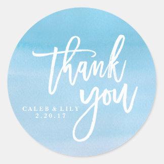 Blue watercolor Thank You sticker, label Round Sticker