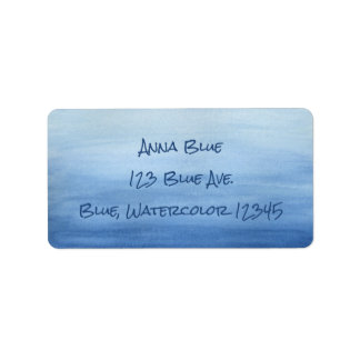 Blue Watercolor Wash Ombre Gradient Shades of Blue Address Label