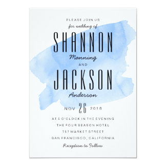 Blue Watercolor Wash Wedding Invitation