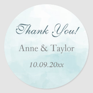 Blue Watercolor, Wedding Favors, Thank You Round Sticker