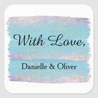 Blue Watercolor Wedding Invitation Sticker