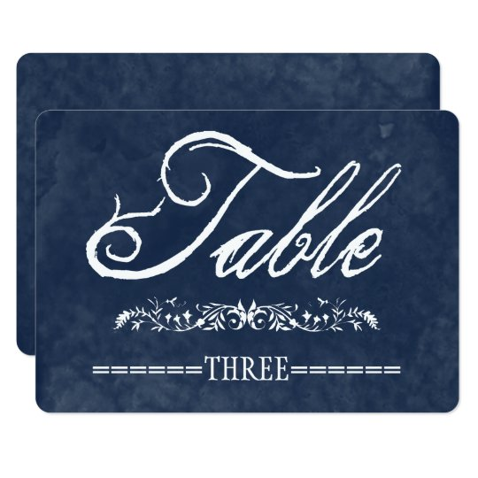 Blue Watercolor Wedding Table Numbers Card
