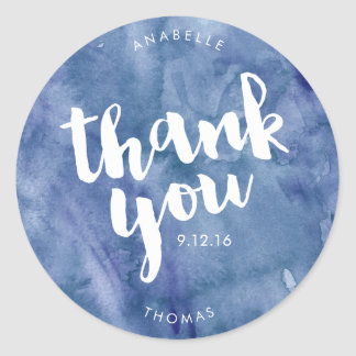 Blue Watercolor Wedding Thank You Classic Round Sticker