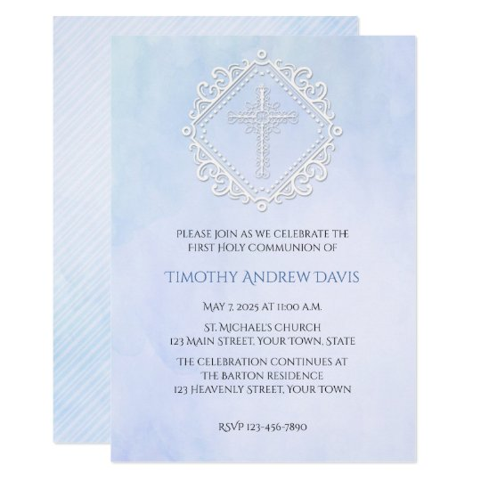 Blue Watercolor White Cross Religious Invitation