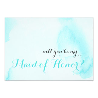 Blue Watercolor | Will you be my Maid of Honour Card