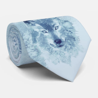 Blue Watercolor Wolf Tie