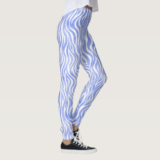 Blue Watercolor Zebra Pattern Leggings