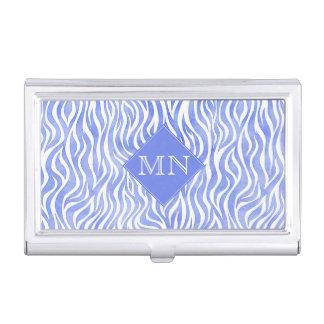 Blue Watercolor Zebra Pattern | Monogram Business Card Holder