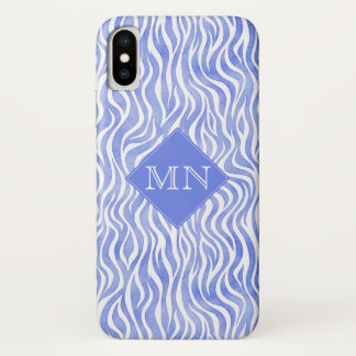 Blue Watercolor Zebra Pattern | Monogram iPhone X Case