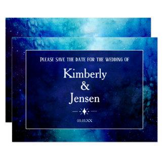 Blue Watercolour Nebula Save the Date Card