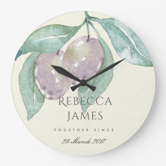 BLUE WATERCOLOUR OLIVE SAVE THE DATE WEDDING GIFT LARGE CLOCK