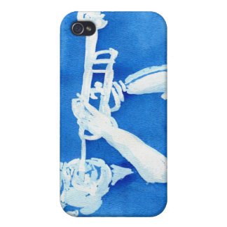 Blue watercolour painting of trumpet player iPhone 4/4S cases