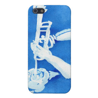 Blue watercolour painting of trumpet player iPhone 5/5S cover