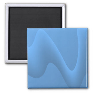 Blue Wave Abstract Image Design. Square Magnet