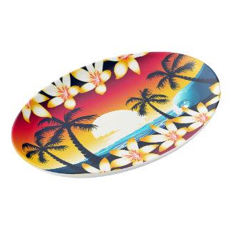 Blue wave at sunrise porcelain serving platter