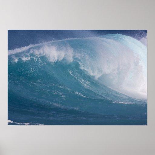 Blue wave crashing, Maui, Hawaii, USA Poster