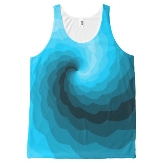 Blue Wave Digital Abstract Design All-Over Print Tank Top