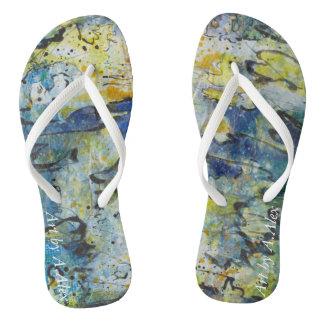 Blue Wave Flip Flops Thongs