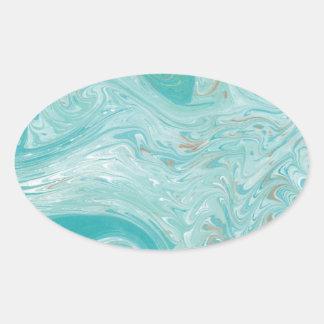 Blue Wave Marble Oval Sticker