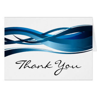 Blue Wave Modern Abstract Thank You Cards