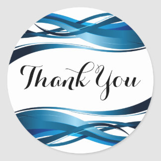 Blue Wave Modern Abstract Thank You Classic Round Sticker