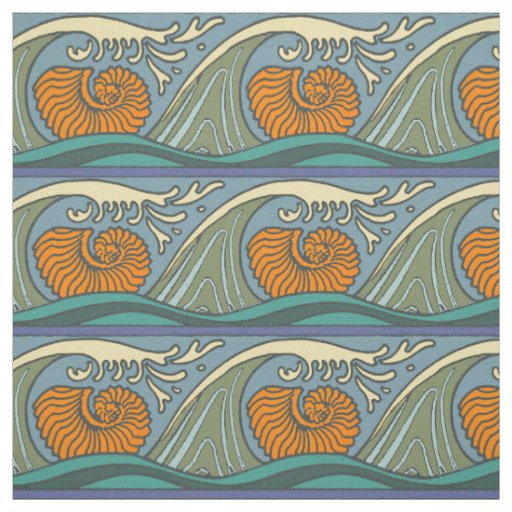 Blue Wave Repeating Pattern Fabric