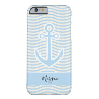 Blue Waves and Anchor Monogram Barely There iPhone 6 Case