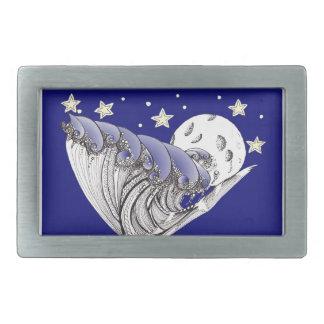 Blue Waves and Full Moon Rectangular Belt Buckle