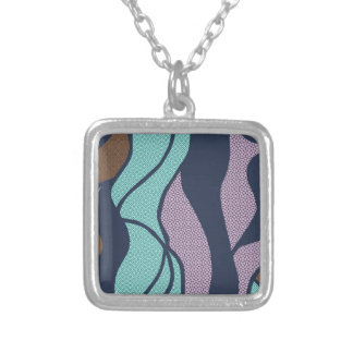Blue Waves Copper Accent Design Silver Plated Necklace