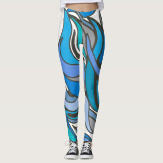 Blue Waves Full Length Leggings