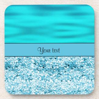Blue Waves & Glitter Drink Coaster