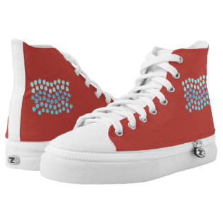 Blue Waves High Top Shoes Printed Shoes