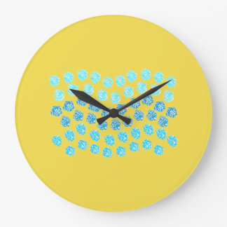 Blue Waves Large Round Wall Clock