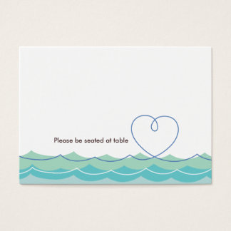Blue Waves Loopy Heart Beach Wedding Place Card