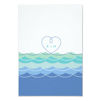 Blue Waves Loopy Heart Beach Wedding Reception 9 Cm X 13 Cm Invitation Card