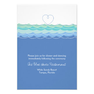 Blue Waves Loopy Heart Beach Wedding Reception Custom Invitations