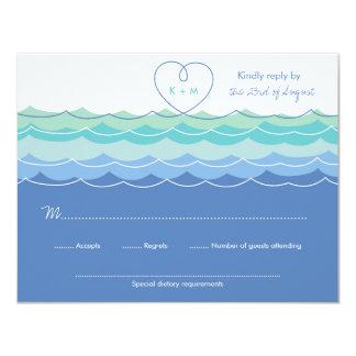 Blue Waves Loopy Heart Beach Wedding RSVP Card 11 Cm X 14 Cm Invitation Card