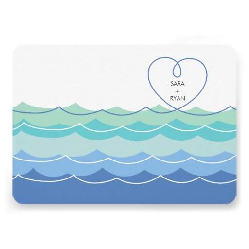 Blue Waves Loopy Heart Engagement Party Invitation