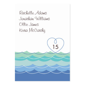 Blue Waves Loopy Heart Guest Escort Place Card Business Card Template