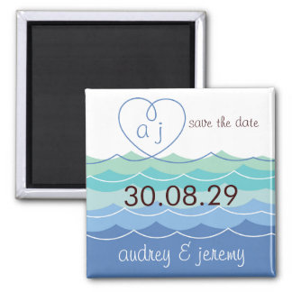 Blue Waves Loopy Heart Save The Date Custom Magnet