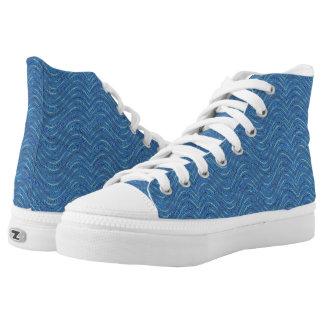 Blue waves pattern Design Printed Shoes
