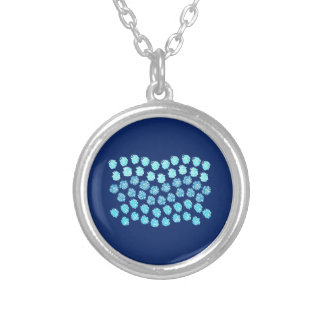 Blue Waves Small Round Necklace