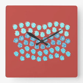 Blue Waves Square Wall Clock