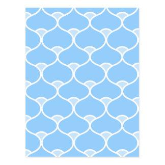 Blue Wavy Geometric Pattern Postcard