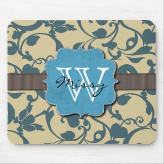Blue Weathered Monogrammed Mouse Pad