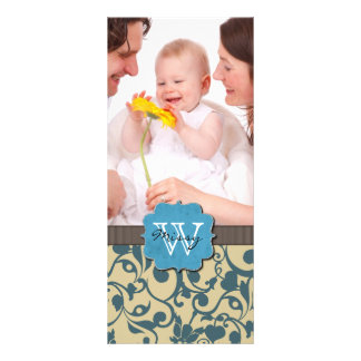 Blue Weathered Monogrammed Rack Card Template