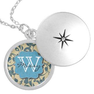Blue Weathered Monogrammed Round Locket Necklace