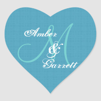 Blue Wedding Damask Monogram Any Initial V06 Heart Sticker