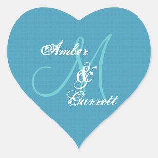 Blue Wedding Damask Monogram Any Initial V06 Heart Stickers