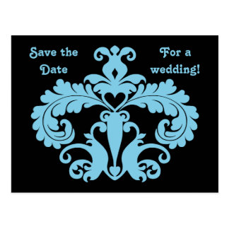 Blue wedding damask save the date postcard